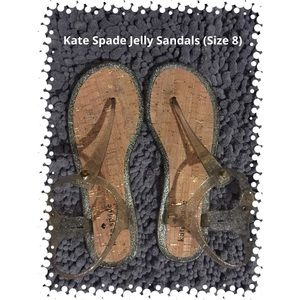 Kate Spade Gold Glitter Jelly Sandals (Size 8)